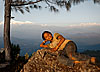 Nepali & Himalayas Photo: A cute Nepali girl couldn't get enough photos taken of herself.  With a background like that, I happily obliged and ended up taking around 200 photos of her and her two friends.  I'm told that's the Himal Ganesh range of the Himalayas but don't quote me on that.