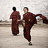 Strike Out Photo: A young monk celebrates a strike out during a cricket match at the Ghoom Monastery.