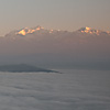 Ocean & Himalayas Photo: An ocean of clouds envelops the valley below Bandipur.