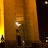 Moonrise Sunset Photo: The rising moon is visible between the legs of India Gate.