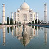 Classic Taj Photo: The Taj Mahal mirrored by a water fountain's reflection.