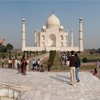 Taj Mahal Center Fountain Photo: A panorama of the Taj Mahal taken from the center fountain on the walkway to the mausoleum.