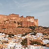Blue City & Sky Photo: The Mehrangarh fort in Jodhpur as seen from a rooftop restaurant.
