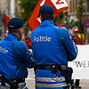 Labor Day Law Photo: Belgian policemen monitor the May Day parade.