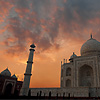 Fortuitous Fluke Photo: The sky glows brilliantly at dusk behind the Taj Mahal. (From the archives, due to time restraints.)