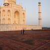 Atmospheric Glow Photo: The Taj Mahal glows red at sunrise.  (From the archives due to time restraints.)