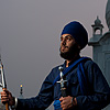 Ornamental Dagger Photo: A Sikh man holds a spear, sword and dagger at the Paonta Sahib Gurudwara.  (From the archives due to time restraints.)