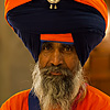 Indian Style Photo: Large turbaned Sikh leader of the Paonta Sahib Gurudwara.