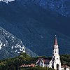 Valley View Photo: An ancient church at the foot of the Alps.