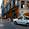 Stony Center Photo: A user-controlled panorama of a series of narrow cobblestone streets in the center of the historic old city of Geneva.