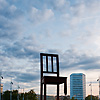 "Legless Photo: Broken chair ""art"" at the Place des UN, the European headquarters of the United Nations."