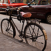 Ramses' Ride Photo: An ancient bicycle dating back to the time of the pharaohs rests on a typical side alley in Cairo.