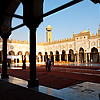 Medieval Mosque (panorama inside) Photo: The courtyard of the Al-Azhar Mosque in Islamic Cairo.