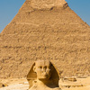 Sphinx Scale (Before/After) Photo: The Sphinx and the Pyramid of Khafre at an empty Necropolis complex in Giza, Egypt.