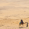 Desert Dynasties (Panorama Inside) Photo: Tourists wander the desert around the pyramids of Giza.
