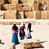 Building Blocks Photo: Young Egyptian girls marvel at the Pyramid of Khufu.