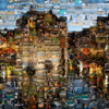 Year-End Mosaics Photo: A multi-image mosaic recreating an image of the Palais de L'isle in Annecy, France.