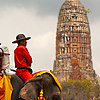 Pachyderm Package-Tour Photo: Tourists leisurely see the sites on elephant back in the old capitol of Thailand, Ayutthaya.