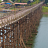 photo: Saphan Mon Bridge - Thailand's longest wooden bridge, the manually constructed Saphan Mon near the Myanmar border in Sangkhlaburi.