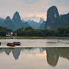 Spiky Scenery Photo: Tourist boats await passengers among the beautiful karst scenery in Xingping, China (ARCHIVED PHOTO on the weekends - originally photographed 2007/06/27).