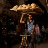 Bread Head Photo: A bicycle bread delivery guy rides through the Tentmaker's Bazaar (Souq Al-Khiamiyya) in Islamic Cairo, Egypt (ARCHIVED PHOTO on the weekends - originally photographed 2010/10/19).