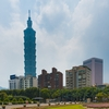 Flower Tower Photo: A beautifully landscaped garden of flowers with the Taipei 101 building in the background.