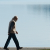 Lake Leisure Photo: A local resident takes a stroll along Annecy Lake in the autumn.