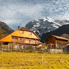 Cliche Chalet Photo: A beautiful chalet among the sickeningly picturesque French Alps and its snow-capped peaks.